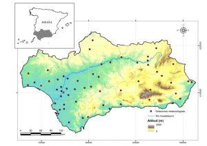 Figura 1. Área de estudio y ubicación de las estaciones meteorológicas incluidas en este estudio.