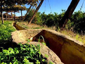 Los antiguos canales de riego aún siguen en uso en esta finca que tiene siglos de historia