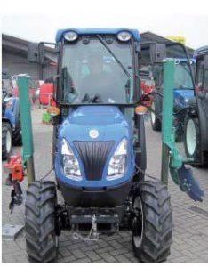 Ejemplo de montaje pilares para discos de deshojadora en tractor estrecho