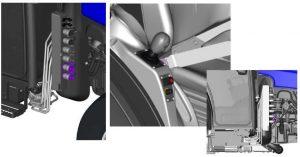 Detalle de tomas hidráulicas y eléctricas y su comando con Joystick en cabina